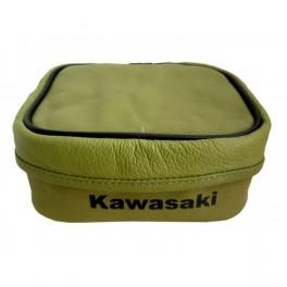 KAWASAKI KDX GENUINE LEATHER SMALL REAR FENDER TOOL BAG GREEN